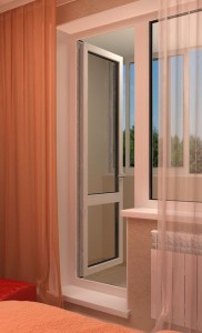 Пластиковая балконная дверь. Открывание на балкон