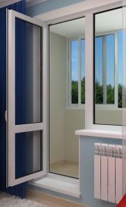 Пластиковая балконная дверь. Открывание внутрь помещения