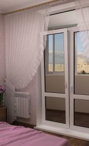Двухстворчатая пластиковая дверь на балкон