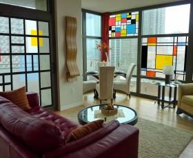 УФ Витраж на стекле Цветные кубики