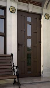 Входная дверь.Стекло и цветная сэндвич-панель