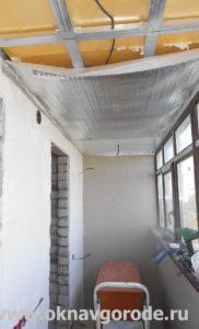Балконы в Курске. Утепление и обшивка потолка панелями ПВХ + электрика (2)