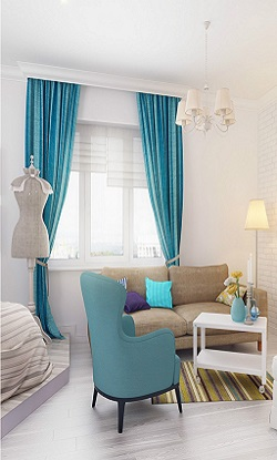 Светлый интерьер с окном 250х415